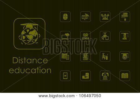 Set of distance learning simple icons