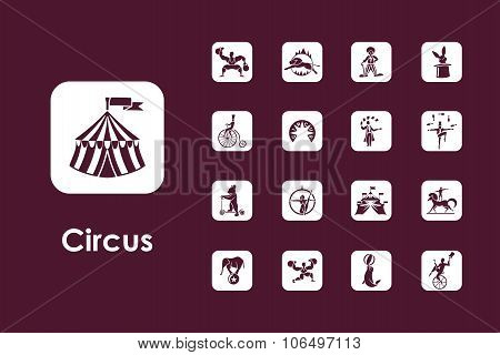 Set of circus simple icons