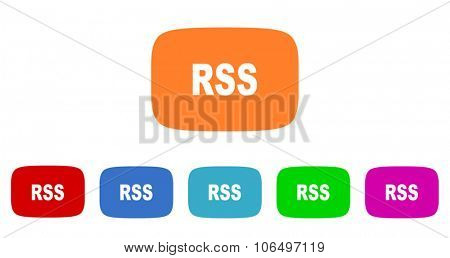 rss flat design modern vector circle icons colorful set for web and mobile app isolated on white background