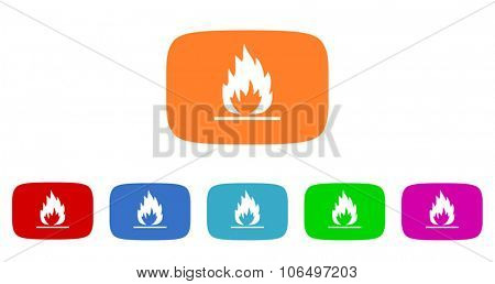 flame flat design modern vector circle icons colorful set for web and mobile app isolated on white background