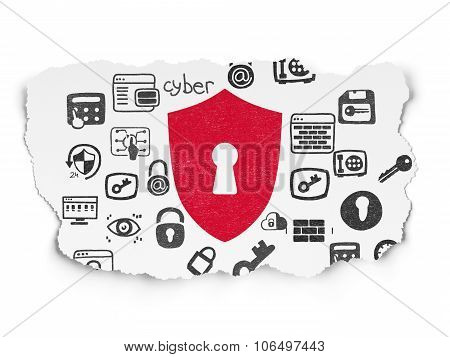 Protection concept: Shield With Keyhole on Torn Paper background