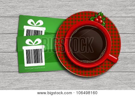 Christmas Discount Coupons With Barcode And Coffee On Wooden Desk