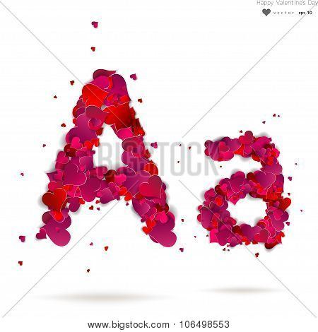Letter A made from hearts. Love alphabet