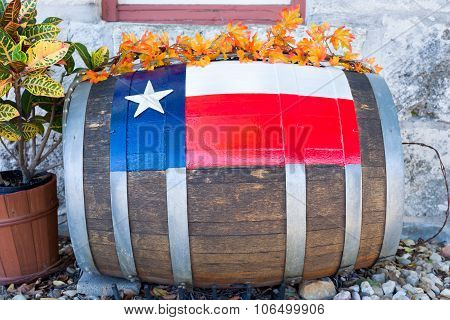 Decorated Barrel In Front Of A Texas Building
