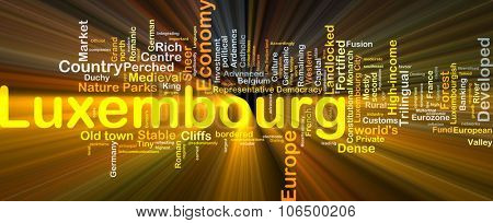 Background concept wordcloud illustration of Luxembourg glowing light