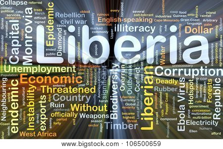 Background concept wordcloud illustration of Liberia glowing light