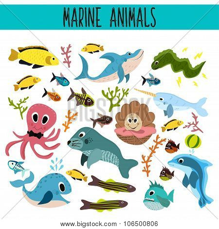 Cartoon Set of Cute sea Animals and living underwater in the waters of the seas and oceans .Shark, f