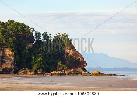 Tropical beach at low tide sunrise