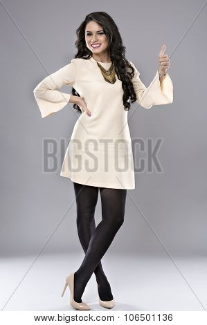 Business Woman Thumb Up Gesture, Smile Business Woman, Isolated On Gray Background