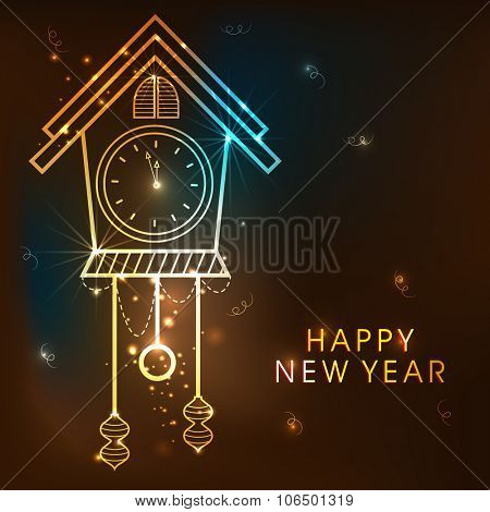 Elegant golden glossy clock showing almost Twelve O' Clock on shiny brown background for Happy New Year celebration.