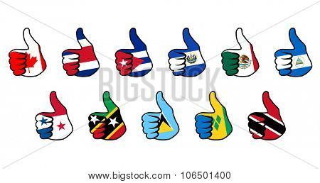 hand thumb-up sign with flag of some north america countries
