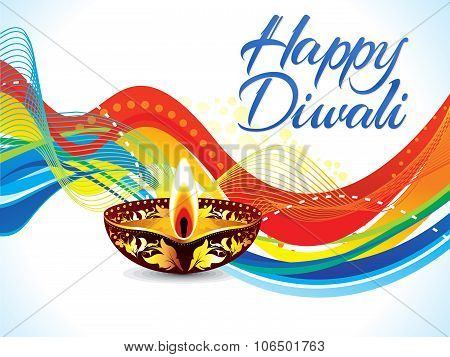 Abstract Colorful Artistic Diwali Wave Background