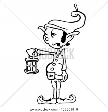simple black and white leprechaun cartoon