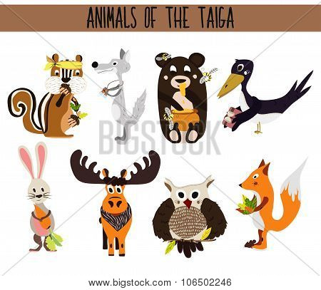 Set of Cute cartoon Animals birds living in taiga. Owl, Fox, hare, elk, bear, crow, Chipmunk, and wo