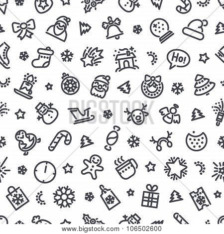 Christmas Symbols Seamless Pattern
