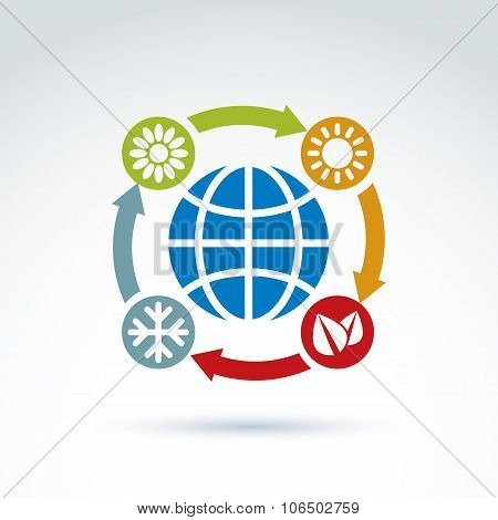 Connected Circles With Season Pictograms Placed Around The Planet, Flower, Sun, Snowflake