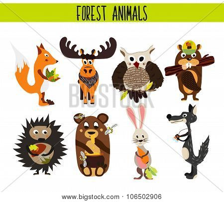 Cartoon Set of Cute Woodland and Forest Animals moose, owl, wolf, Fox, rabbit, beaver, bear, moose i