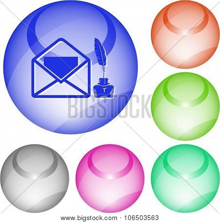 mail with feather and inkstandn . Raster interface element.