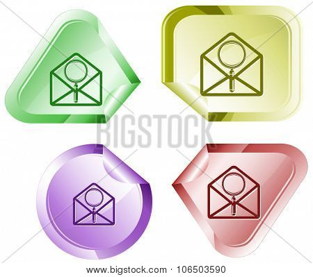 open mail with magnifying glass. Raster sticker.