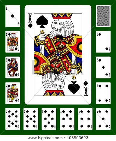 Playing cards of Spades suit and back on green background. Faces double sized. Original design. Vector illustration