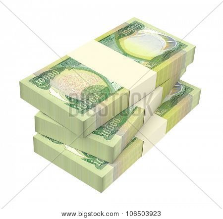 Iraq dinars bills isolated on white background. Computer generated 3D photo rendering.