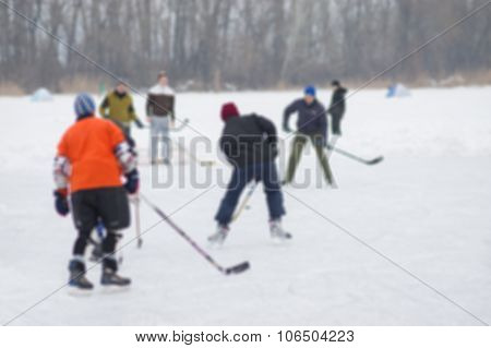 Outdoor hockey on a frozen river Dnepr in Ukraine