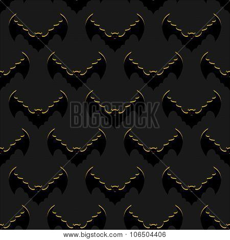 Bats Background. Flock Of Flying Bloodsuckers Seamless Pattern. Terrible Night And Winged Animals. T
