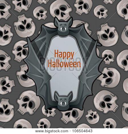 Halloween card with bat and skulls