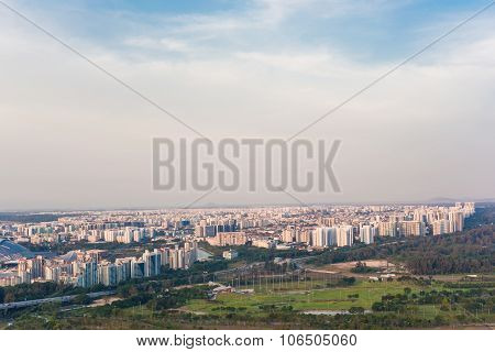 Landscape From Bird View Of Singapore Skyline With City
