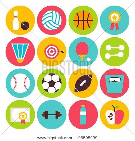 Flat Sport Recreation And Fitness Circle Icons Set