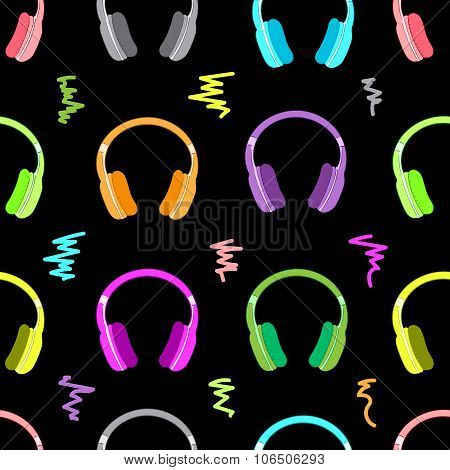 Color earphones on the black