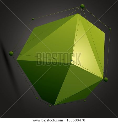 Geometric Abstract 3D Complicated Lattice Object Over Dark Background, Colorful Asymmetric Element W