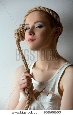Portrait of cute girl posing as mentally ill