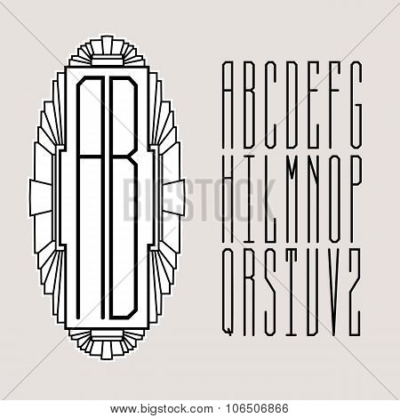 Stylish  graceful monogram , Elegant line art logo design in Art Nouveau style and a set of  letters