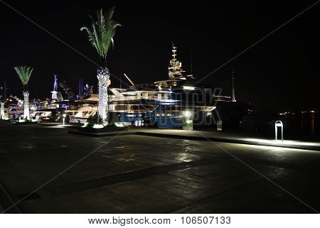 Night with luxury yachts in Porto Montenegro.