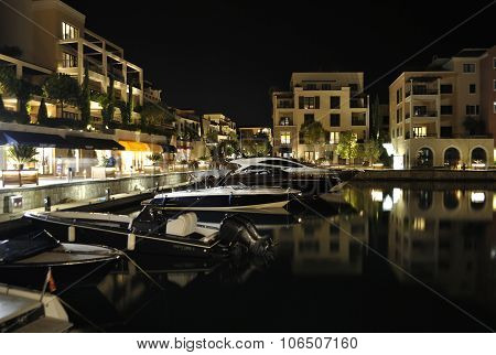 Evening embankment with reflection in Porto Montenegro.