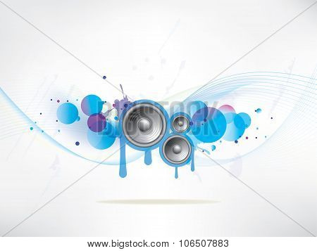 abstract colored background with vinyl and musical note