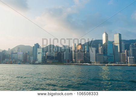 Hongkong Island Skyline From Kowloon City