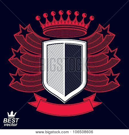 Royal Stylized Vector Graphic Symbol. Shield With 3D Stars And Decorative Red Ribbon. Clear Eps8 Coa