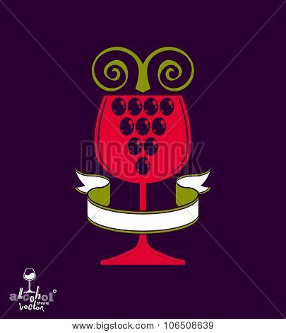 Winery Award Theme Vector Illustration. Stylized Half Full Glass Of Wine With Grapes Vine And Decora