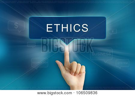 Hand Clicking On Ethics Button