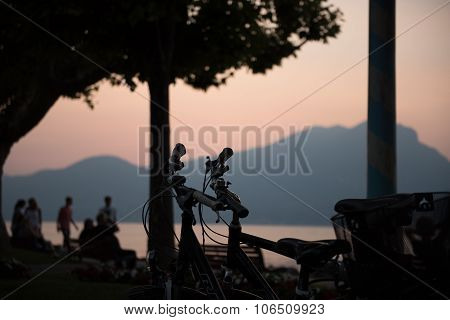 Bycicles In The Sunset In Torri Del Benaco, Italy