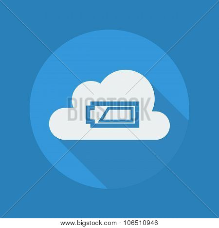 Cloud Computing Flat Icon. Battery