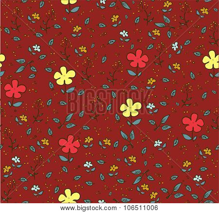 Floral deep red-brown seamless background with yellow flowers