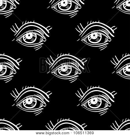 Trendy Pop - Art eye seamless pattern.