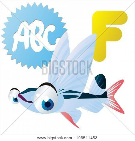 Cute vector isolated animals Alphabet: F  is for Flying Fish