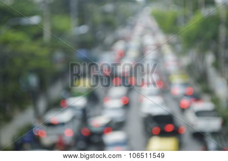 Blur Focus Of Rush Hour With Cars And Generic Vehicles, Traffic Jam In Bangkok Thailand, Transportat