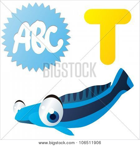 Cute vector isolated animals Alphabet: T  is for Tilefish