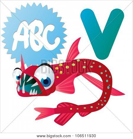Cute vector isolated animals Alphabet: V  is for Viperfish