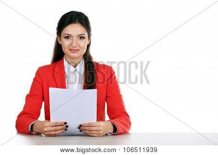 Picture of TV anchor preparing for telling news isolated on white